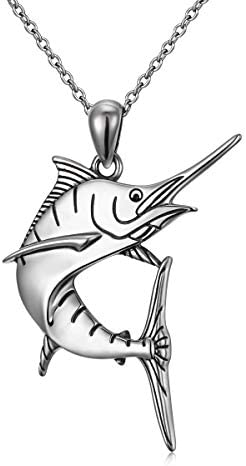 Personalized Marlin Fish Swordfish Sailfish Pendant Charm Necklace 925 Sterling Silver Hip Hop product image