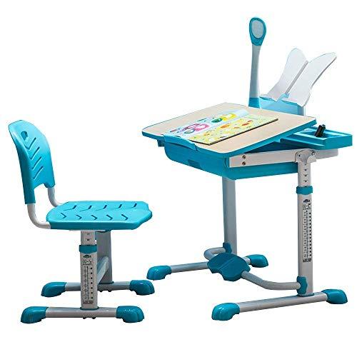 FTFTO Wohnaccessoires Home Beistelltische Tisch Kinder Schreibtisch Set Höhe Verstellbarer Kinderarbeitsplatz Kinderarbeitsplatz und Aktivität mit verstellbarem Stuhl Robustes, langlebiges ZHZ Blau