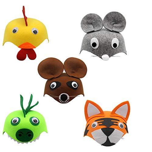 FISHSHOP 5 Pcs Sombreros Máscaras Animales para Niños con Cuerda Elástica Fieltro Sombreros para Cosplay Fiesta Mascarada Decoración Navidad Halloween