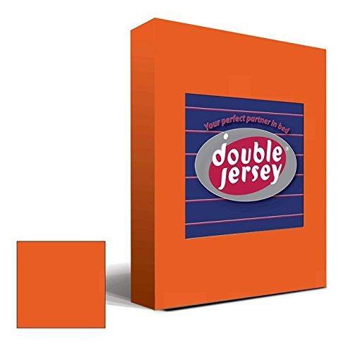 Double Jersey – Spannbettlaken 100% Baumwolle Jersey-Stretch bettlaken, Ultra Weich und Bügelfrei mit bis zu 30cm Stehghöhe, 160x200x30 Orange - 2