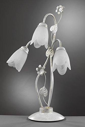 onli – lampe de table 3 lumières E14 série Petunia. Structure en métal Ivoire clair spennellato or avec abat-jours en verre Blanc mat en forme de fleur. Style Classique, élégant, traditionnelle.