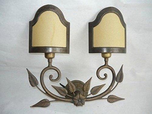 Applique da parete lampada Liberty a due luci con ventole pergamena