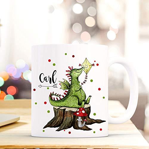 ilka parey wandtattoo-welt Tasse Becher mit Drache Geschenk mit Tiermotiv Kaffeetasse mit Namen Wunschnamen & Punkte Kaffeebecher ts775