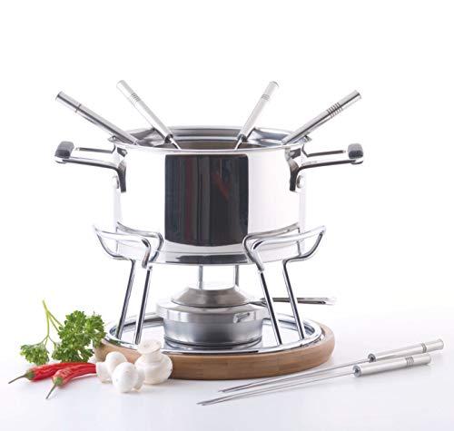 MÄSER 931894 - Set per fonduta per 6 persone, ideale per fonduta di carne, set da 11 pezzi, con forchette da fonduta e bruciatore per fonduta, in bella confezione regalo, in acciaio inox, 1,7 litri