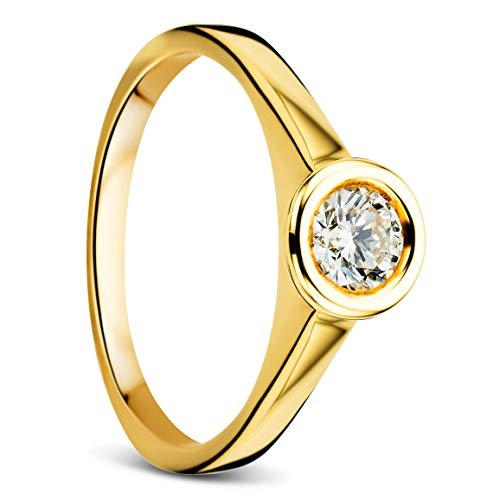 Orovi - Anello solitario da donna, in oro giallo 9 carati, con diamanti da 0,30 ct e Oro giallo, 58 (18.5), cod. OR81315R58