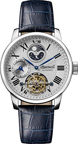 Ingersoll The Riff Mens Automatic Watch I07401 with a Silver Dial and a Blue Genuine Leather Band