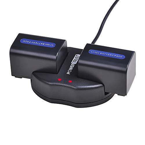 PowerTrust 2Pack NP-FH70 Battery + Dual USB Charger for Sony NP-FH50 NP-FH40 NP-FH30 NP-FH70 NP-FH100 A230 A330 A290 A380 DVD650 HC20 Batteries