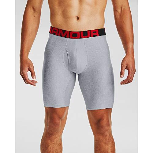 Under Armour Herren Tech 9in 2 Pack schnelltrocknende Boxershorts, komfortable Unterwäsche mit enganliegendem Schnitt im 2er-Pack, Mod Gray Light Heather / Jet Gray Light Heather, L