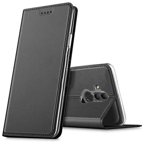 Verco Handyhülle für Mate 20 Lite, Premium Handy Flip Cover für Huawei Mate 20 Lite Hülle [integr. Magnet] Book Hülle PU Leder Tasche, Schwarz
