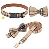 Bow Tie Dog Collar and Leash Set - Classic Plaid...