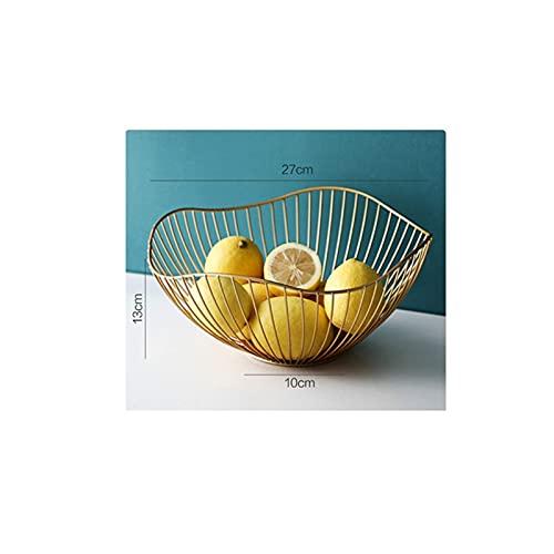 Mesa auxiliar de mesa de centro, cesta de almacenamiento de cesta de metal para frutero, utilizada para almacenar frutas, verduras, aperitivos, para decoración de oficina de escritorio (pequeña)