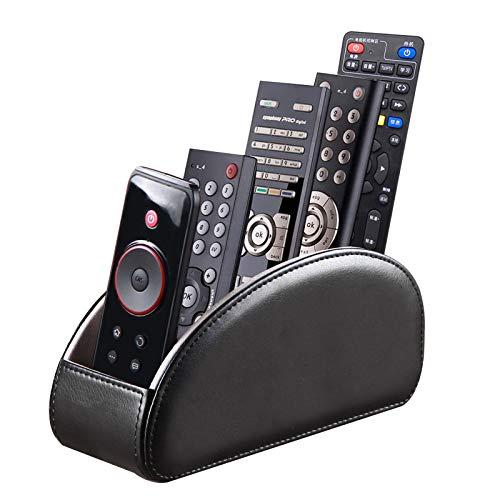 BLIENCE Fernbedienungshalter aus Leder, für Sessel, TV-Fernbedienung, für Tisch, 5 Fächer, Bürobedarf, Schreibtisch-Organizer, Aufbewahrungsbox für TV, DVD, Blu-Ray, Media-Player, Heizungsregler