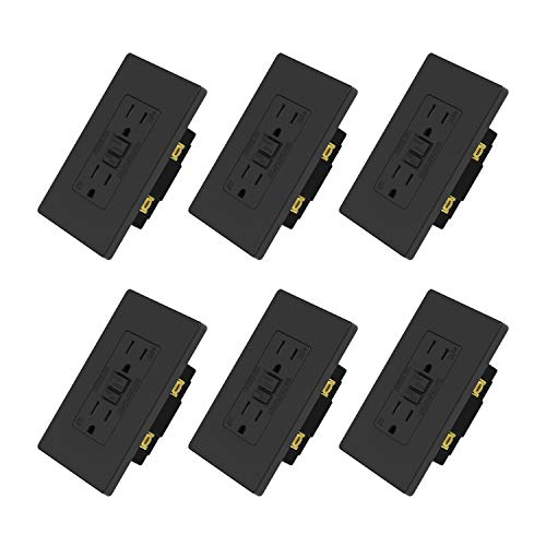 ELEGRP 15 Amp GFCI Outlet, 5-15R GFI Dual Receptacle, TR Tamper Resistant with LED Indicator, Self-Test Ground Fault Circuit Interrupters, Wall Plate Included, UL Listed (6 Pack, Matte Black)