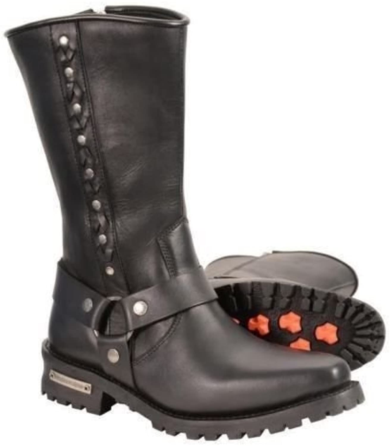 Milwaukee Men's 11  Long Cowhide Waterproof Leather J Toe Harness Western Boots W Rivet