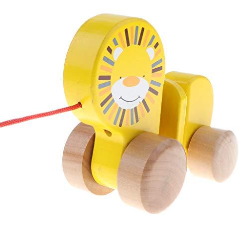 Homyl Holz Nachziehtiere Ziehtiere Nachziehauto Nachziehspielzeug mit Löwe Design