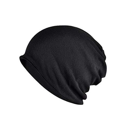 Yuccer Beanie Mütze, Baumwolle Unisex Hat 2-in-1 Skull Cap Halstuch Chemo Hut, Leicht und Weich (Dünn, schwarz)