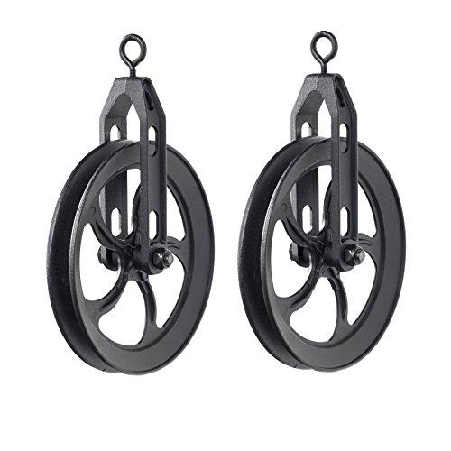 Polia rústica industrial rústica vintage com roda média para pendentes de parede personalizados, conjunto de 2 lâmpadas pretas foscas