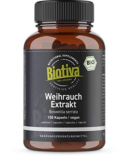 Extrait d'encens bio - 150 capsules - Boswellia serrata - Prix de lancement - 65% d'acide boswellique - Végan - Agriculture biologique contrôlée - Conditionné en Allemagne