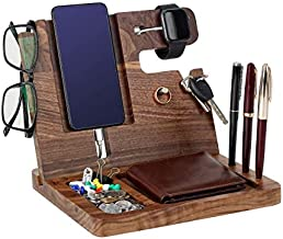 Gifts for Men - Ebony Wood Phone Docking Station - Nightstand with Key Holder, Wallet Stand and Watch Organizer to Boyfriend Husband Wife Dad for Anniversary Birthday Christmas