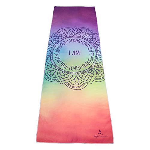 "Premium Quality Yoga Mat Towel by YogAffirmations – Non Slip, Silicone Dots, Ultra Soft Microfiber, Wicking Sweat Absorbent – Great for Pilates, Meditation, Hot Yoga – 24"" x 72"" - Chakra Yoga Towel"