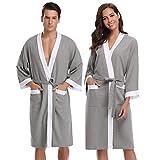 Aibrou femme homme Kimono Tissage Gaufré Peignoir de Bain Unisexe Coton Waffle Robe...