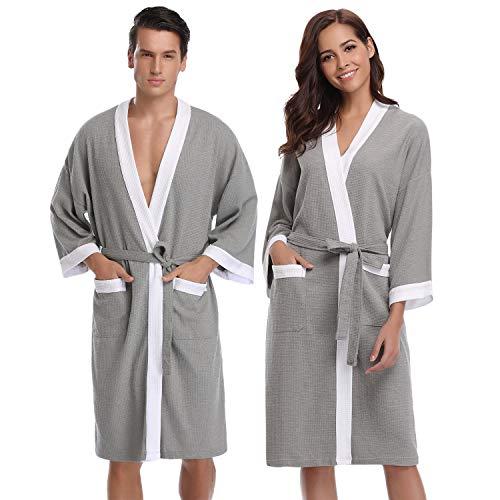 Aibrou femme homme Kimono Tissage Gaufré Peignoir de Bain Unisexe Coton Waffle Robe de Chambre col V Pyjama Pour l'hôtel Spa Sauna Vêtements de nuit - Gris+ Blanc - M