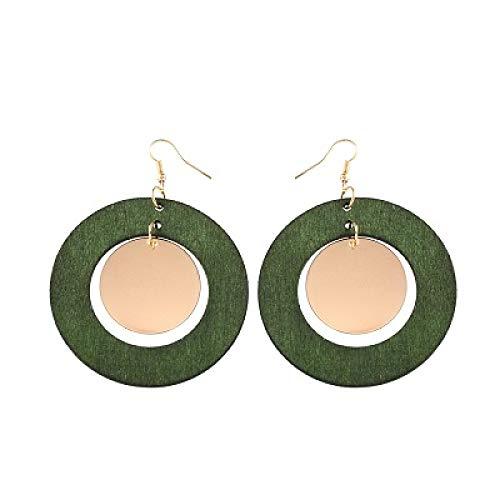 DFDLNL Regalos Pendientes 6 Colores Pendientes de Madera DIY Peine Pendientes de Madera Moda Jelwelry para Mujer Niñas Fiesta BodaVerde