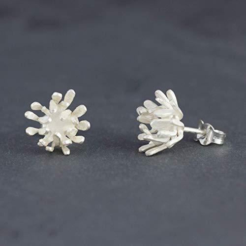 Silber-Ohrstecker Schneeblüte Statement Ohrringe ausgefallener Goldschmied-Schmuck