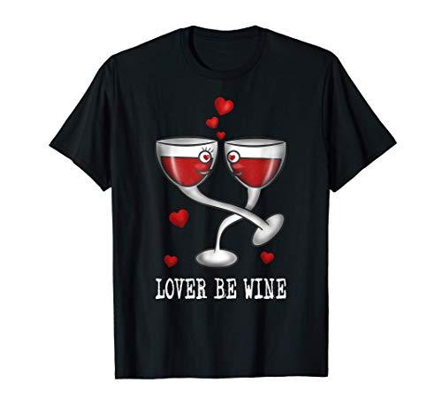 Amantes Copas de vinovino tinto amor Día de San Valentín Camiseta