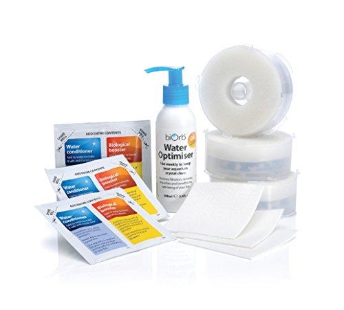 Oase Service Kit 3 mit Wasseroptimierer - 10-teiliges Reinigungs-Set, Ersatz-Filterpatronen, chemische Filtermedien, Schwamm, Reinigungstuch und Wasser-Aufbereiter, für alle biOrb Aquarien