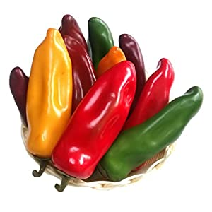 Gresorth 10pcs Artificial Lifelike Chili Fake Pepper Vegetable Decoration Home Kitchen Food Toy Photography Props