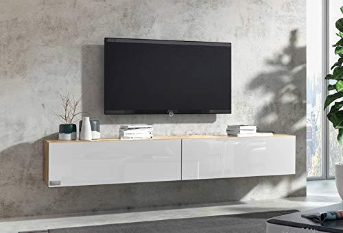 Wuun® 200cm/ Front Weiß-Hochglanz (Korpus Eiche)/8 Größen/6 Farben/TV Lowboard TV Board hängend Hängeschrank Wohnwand/Somero