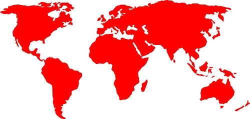Sticker van wereldkaart.