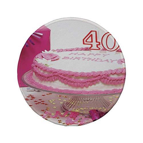 """Rutschfreies Gummi-rundes Mauspad 40. Geburtstagsdekoration rosa Sahnekuchen mit Kerzenhalter-Überraschungsparty rosa-weiß-rot 7.9\""""x7.9\""""x3MM"""