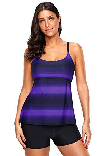 DarkCom Damesbadkleding, 2-delig kleurenblok gestreepte print Strappy Tankini Set met korte broek Sportieve badpak Bikini