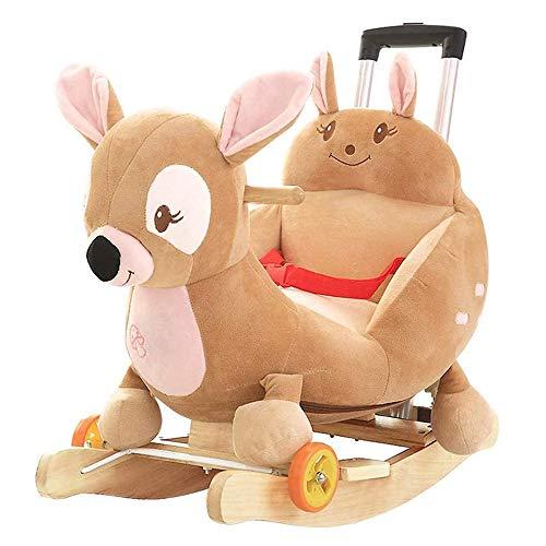 ZXJJD Baby Schaukelpferd, Kid Holz Rocker Fahrt Auf Spielzeug Für 1-3 Jahre Alte Schaukel Tier Baby Plüsch Schaukelstuhl Kleinkind Spielzeug