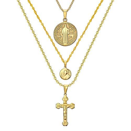 BOBIJOO Jewelry - Alle Hangers Kettingen Kettingen Met Meerdere Lagen Staal Gouden Kruis Van Jezus De Heilige Benedictus Vrouw Medailles