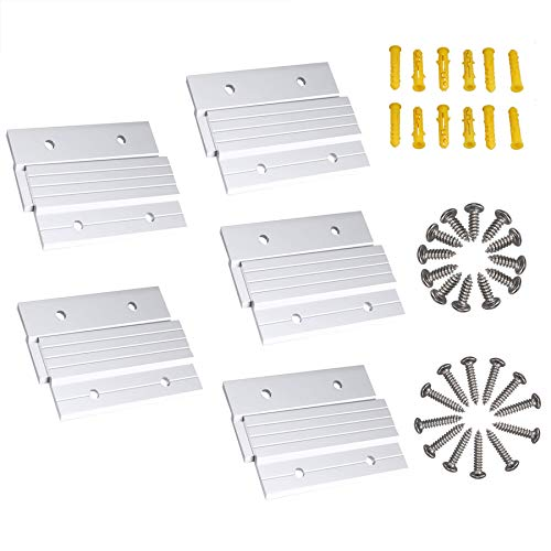 """French Cleat Picture Hanger 4"""" Aluminum Z Clips Interlocking Wall Mounting Bracket Hardware Kit for Hanging Mirrors, Panels, Shelf ,Headboards, Artwork, Cabinet, Whiteboard, Art Frames (5 Pairs)"""