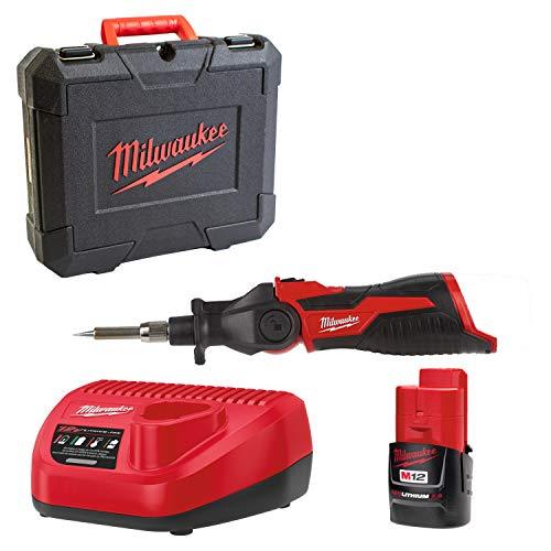 Milwaukee 4933459761 M12 SI-201C Akku-Lötkolben mit 1xAkku und Ladegerät in Koffer, Rot/Schwarz