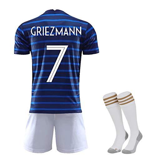 FDSEW Ropa de Entrenamiento de fútbol Personalizada, Camiseta Francesa 2020 Copa de Europa Equipo Nacional de fútbol Ropa No. 7 y No. 10 Uniformes de fútbol