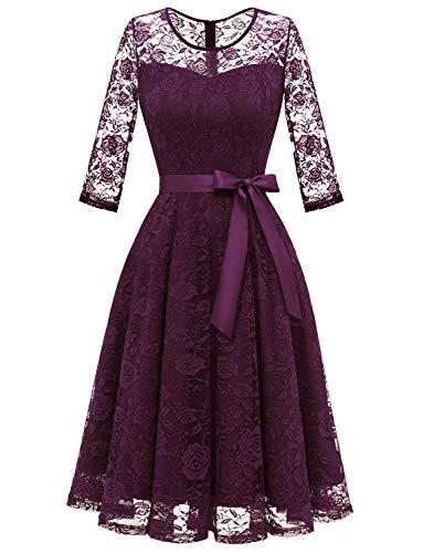 Dressystar 0017 Women's Elegant Floral Lace Dress 3/4 Sleeves Bridesmaid Midi Dresses Illusion Neckline Grape L