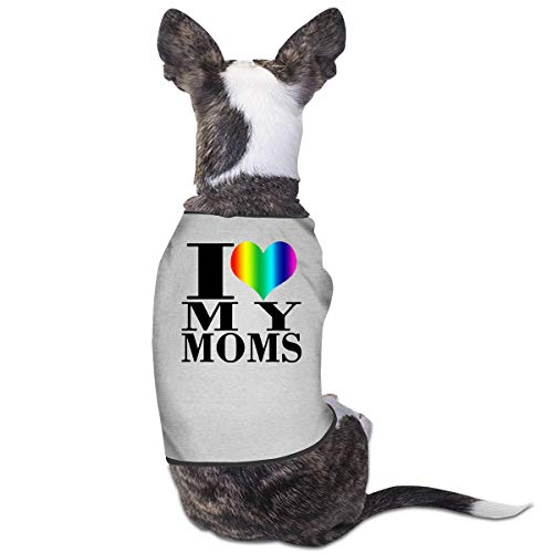 COLLJL8 Mother's Day I Love My Lesbian Moms Pride Heart Pet Dog Clothing Costumes Puppy Dog Clothes Vest Tee Shirts
