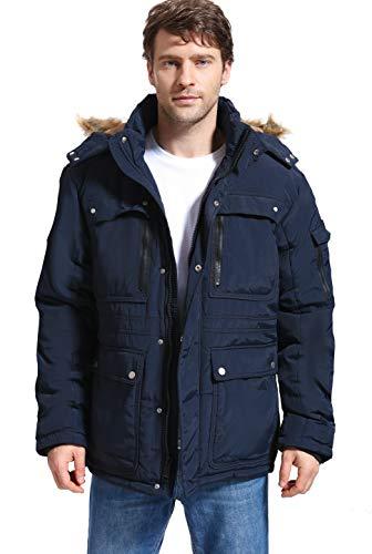 Yozai Mens Winter Parka Insulated Warm Jacket Military Coat Faux Fur with Pockets and Detachable Fur Hood 373 Navy Medium