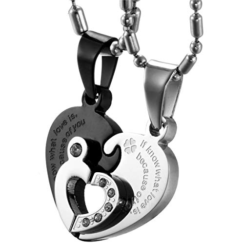 OIDEA [1 Coppia Collana per Coppia Lovers Collana in Acciaio Inox con Pendente Puzzle Cuore If Know What Love is Because of You Mosaico Strass Regalo per Amante Matrimonio Anniversario Nero Argento