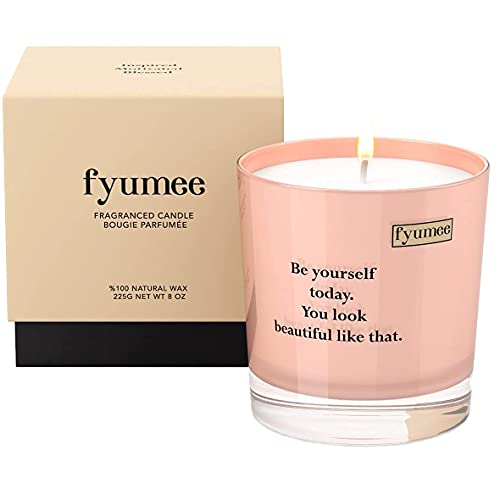 fyumee Vegan Soy Candle for Home Decor - Rose Scented Candle, Massage Oil Candle for Home, Long Lasting Aromatherapy Candle in Glass Jar, 50 Hours Burn Time, Birthday Gift for Women/Men, 8 Oz.