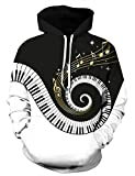 Uideazone Mens Printed Piano Music Note Graphic Pullover Hoodie Sweatshirt Casual Outwear