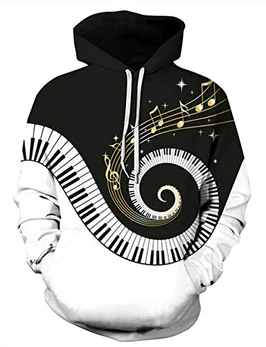 Uideazone 3d Music Note Cool Graphics Man Pullover Hoodie Teen Boys Novelty Hooded Sweatshirt