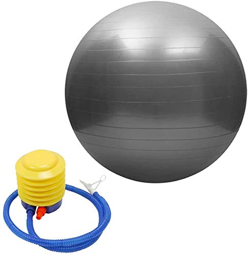 Gym Ball Exercise Fitness Yoga Pregnancy Anti Burst,Fitness Mad Yoga or Pilates Soft Ball,Exercise Gym Ball Eco Friendly,Exercise Ball 85cm/55cm/65cm/75cm with Pump,for Core Training (Plata, 55cm)