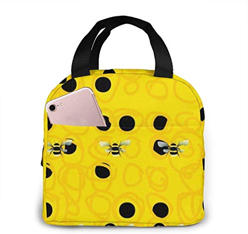 Bumble Bees Lunch Bag for Women Girls Kids Insulated Picnic Pouch Thermal Cooler Tote Bento Large Meal Prep Cute Bag Big Leakproof Soft Bags for Lunch Box, Camping, Travel, Fishing