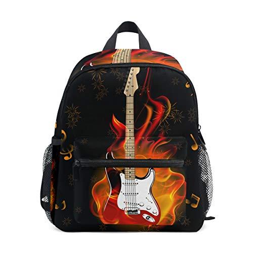 WowPrint Musik Noten Feuer E-Gitarre Rucksack Kinder Kindergarten Vorschultasche Büchertasche Tasche für Kleinkinder Mädchen Jungen Unisex